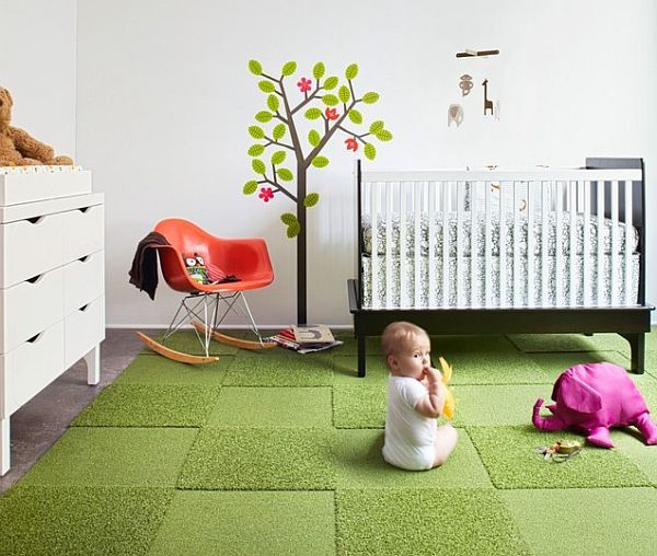 Carpeting floors for children prevents falls